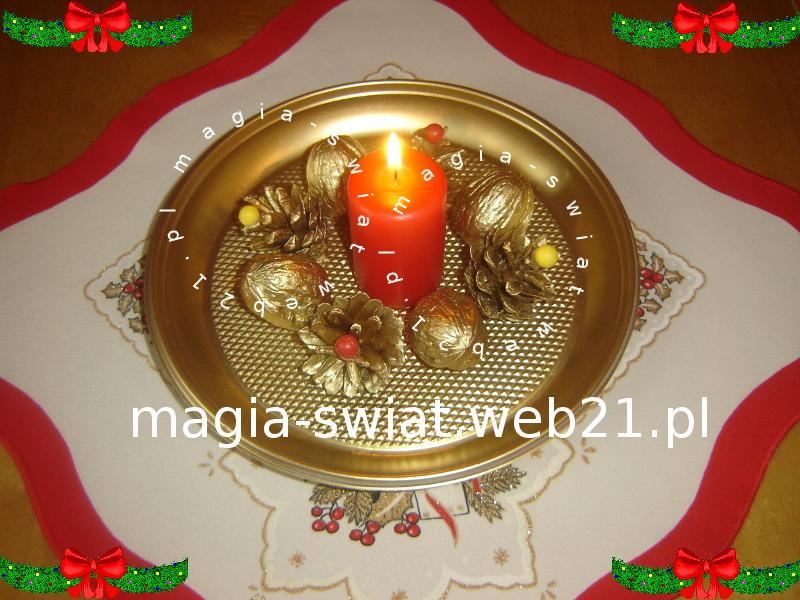 Złoty świecznik z szyszek i orzechów włoskich wg Violi